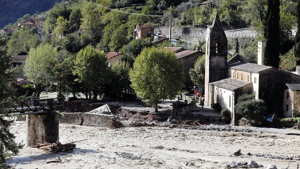A collapsed bridge on the Vésubie river due to heavy rains from Storm Alex in Roquebillière, France, on 3 October 2020