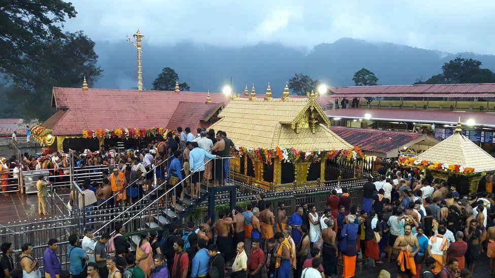 Devotees inside the Sabarimala temple