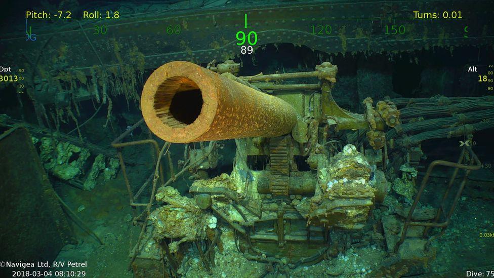 One of the USS Lexington's anti-aircraft guns