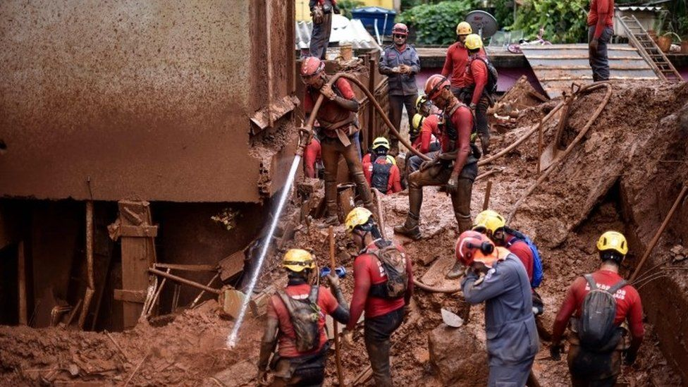 Rescuers search for missing people in Belo Horizonte, Brazil. Photo: 26 January 2020