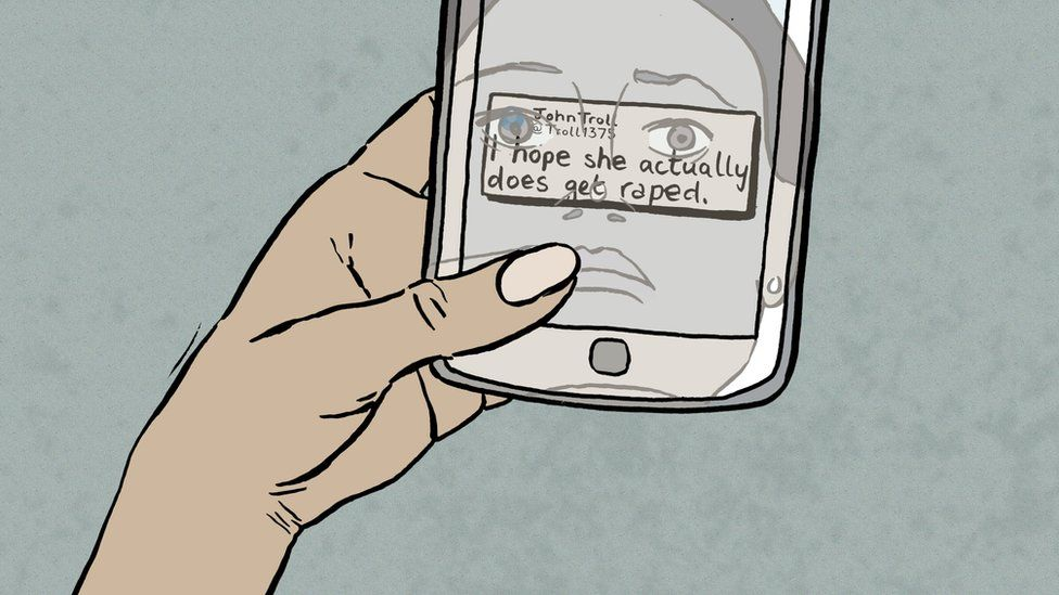 Illustration of a girl holding a mobile phone with a text message that reads 'I hope she actually does get raped'