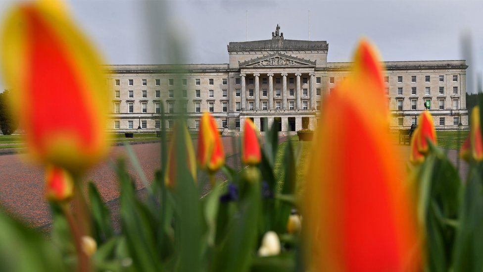 Flowers outside Stormont's Parliament Buildings