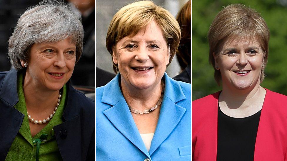 Theresa May, Angela Merkel and Nicola Sturgeon