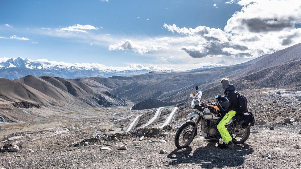 rider looking at view