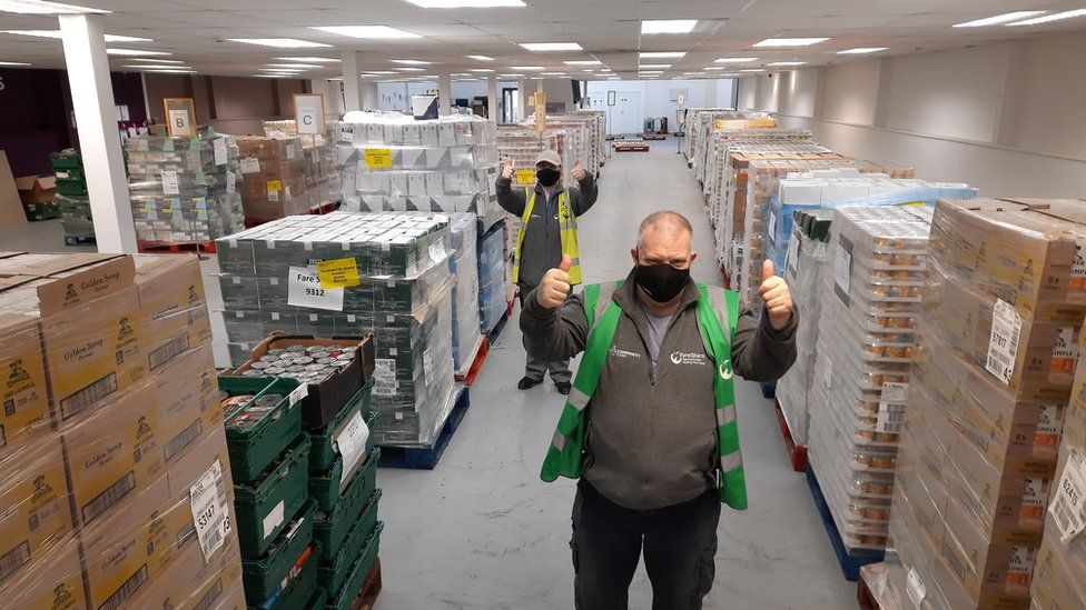 Volunteers at the FareShare South West warehouse at Ashton Gate in Bristol