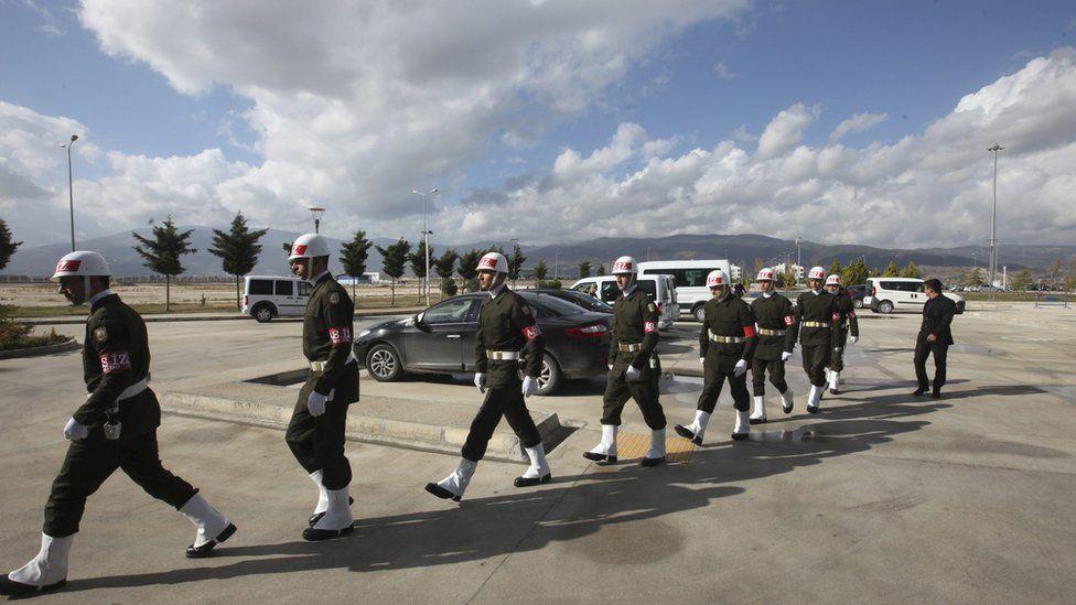 Turkish honour guard for Russian pilot at Hatay airport, Turkey 29 November 2015