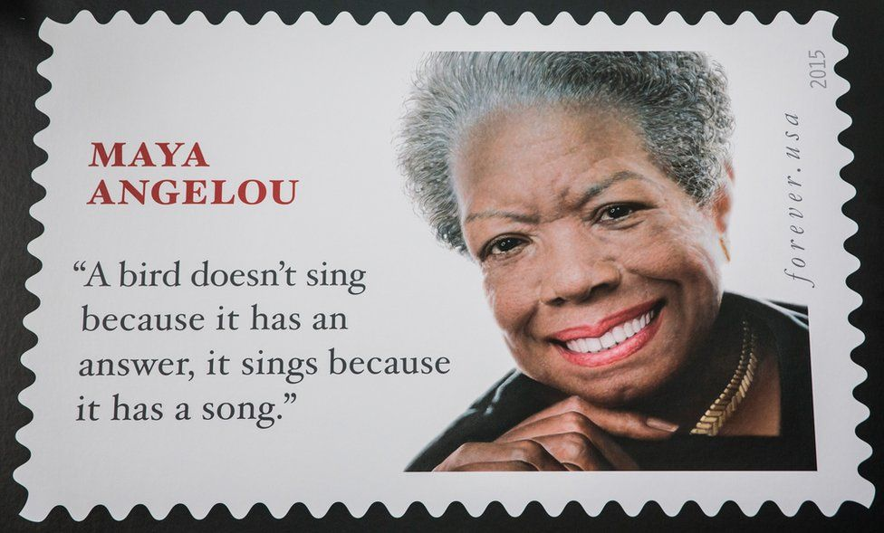 The Maya Angelou Forever Stamp pictured on 20 August, 2015 in New York. It features the writer's face and a quote - now known to be by someone else.