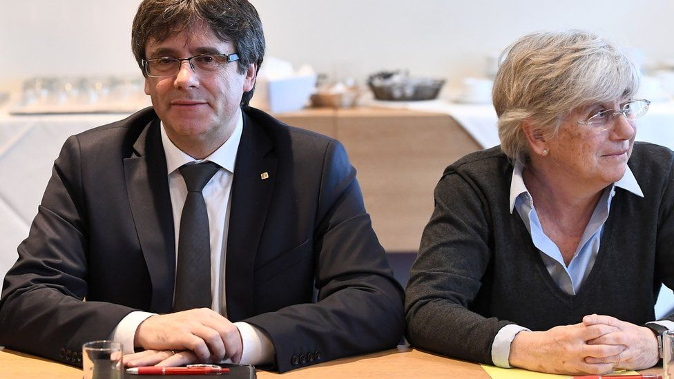 Former Catalan leader Carles Puigdemont and Prof Ponsati in Brussels