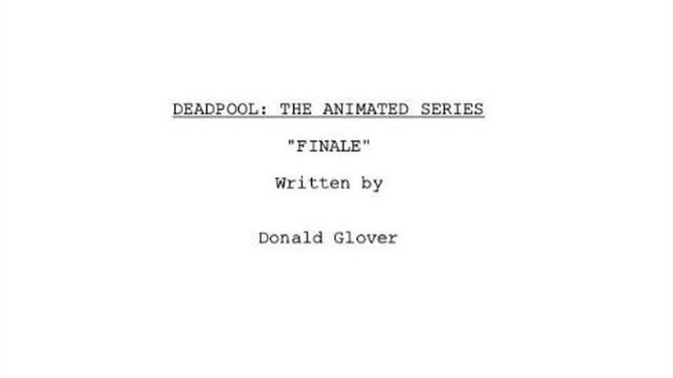 The cover to Donald Glover's Deadpool script