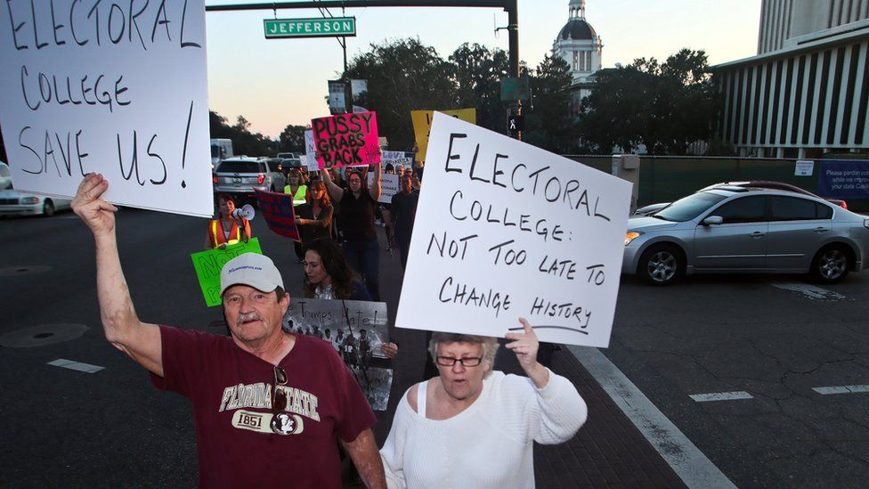 Protesters opposed to the electoral college circle the Capitol in Tallahassee, Florida, on 18 December 2016