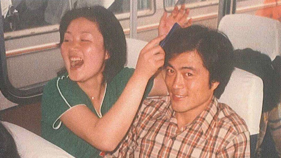 An undated file photo shows Mr Moon, then a college student, with his wife Kim Jung-sook