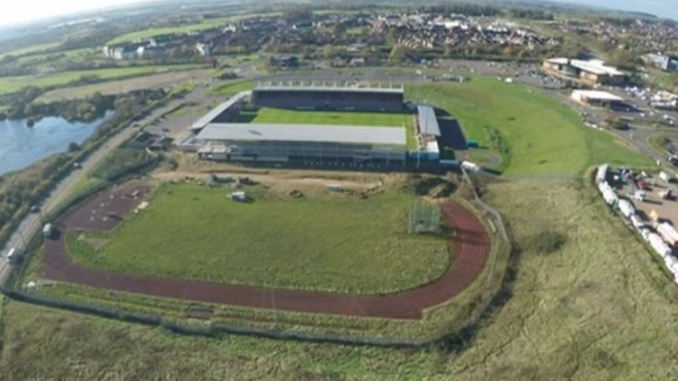 Aerial view of the Sixfields Stadium and surrounding land