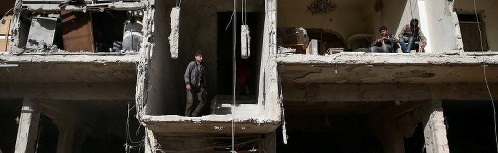 Damaged building in Douma, in eastern Damascus