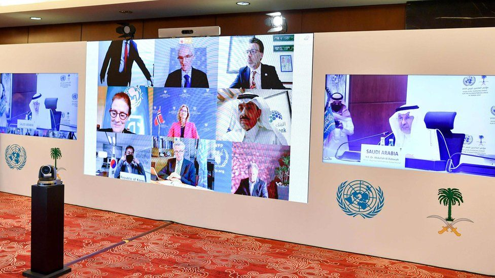 Participants in the virtual meeting for the High-Level Pledging Event For The Humanitarian Crisis in Yemen 2020 in Riyadh, Saudi Arabia (2 June 2020)