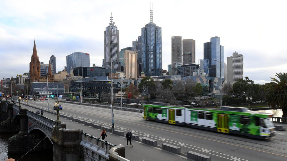 A deserted Melbourne cityscape