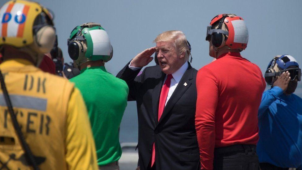 Trump visited a new US battleship on Saturday,