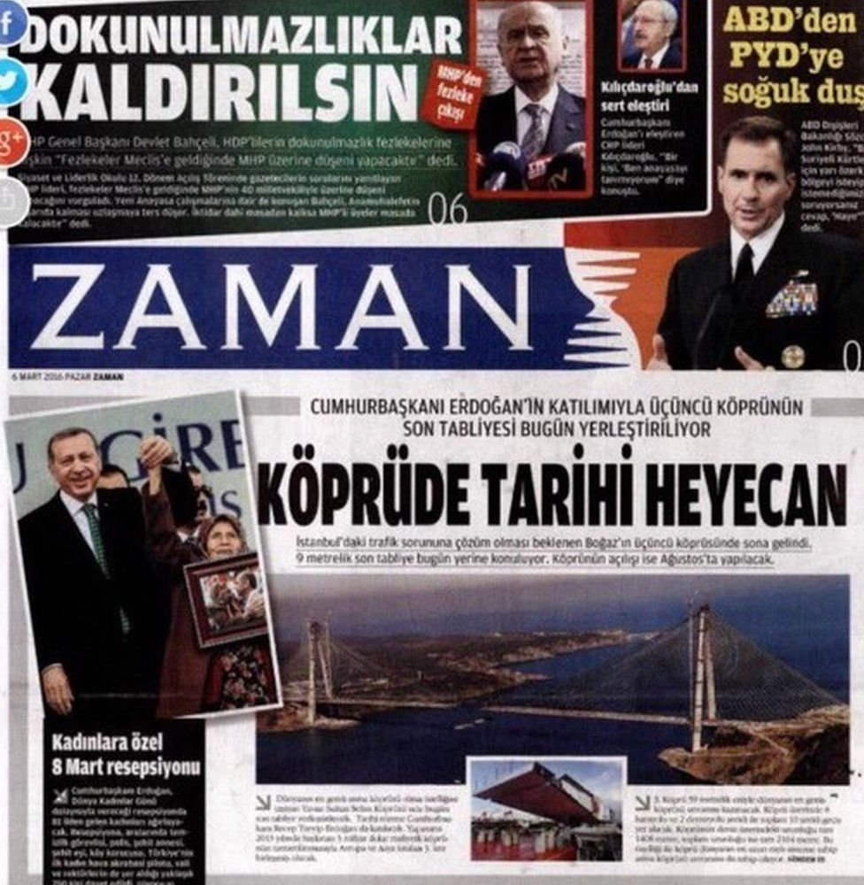 front page of Sunday's edition of Turkish newspaper Zaman - 6 March 2016