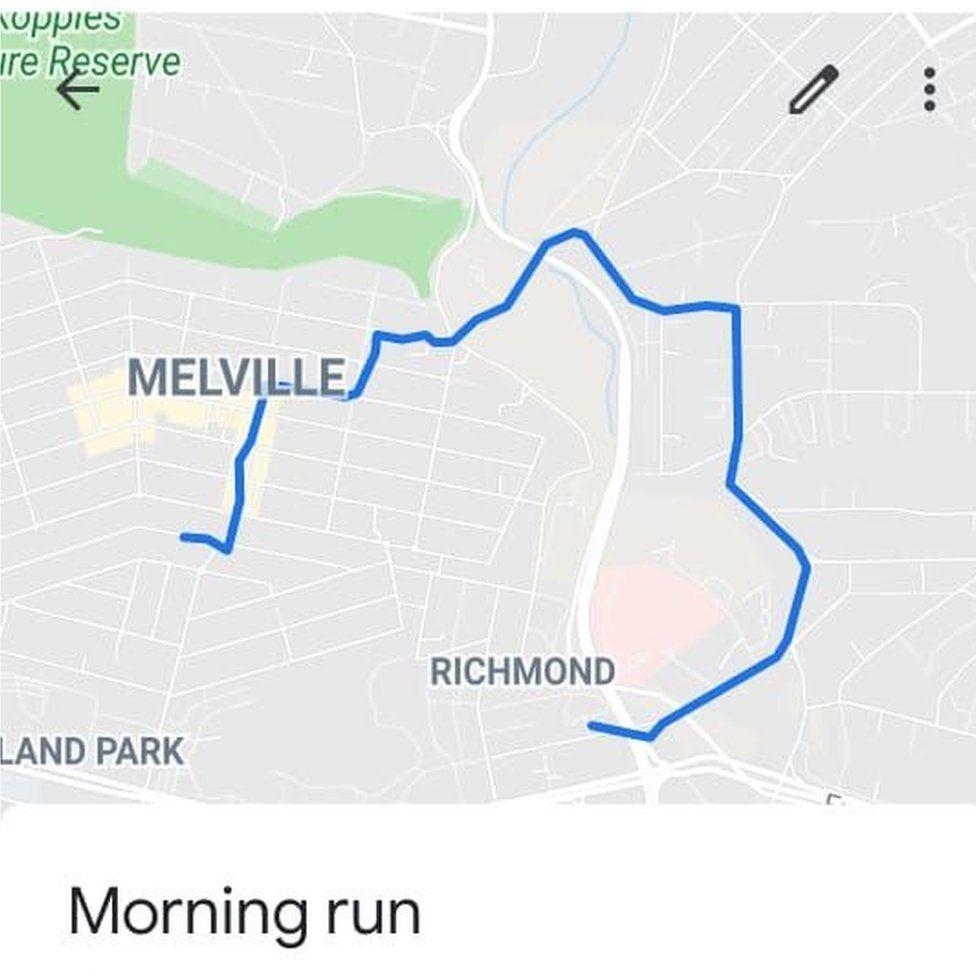 Charmel's morning run.
