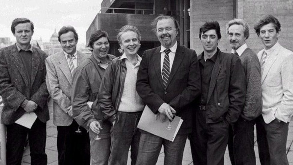 Peter Hall with his production team at the National