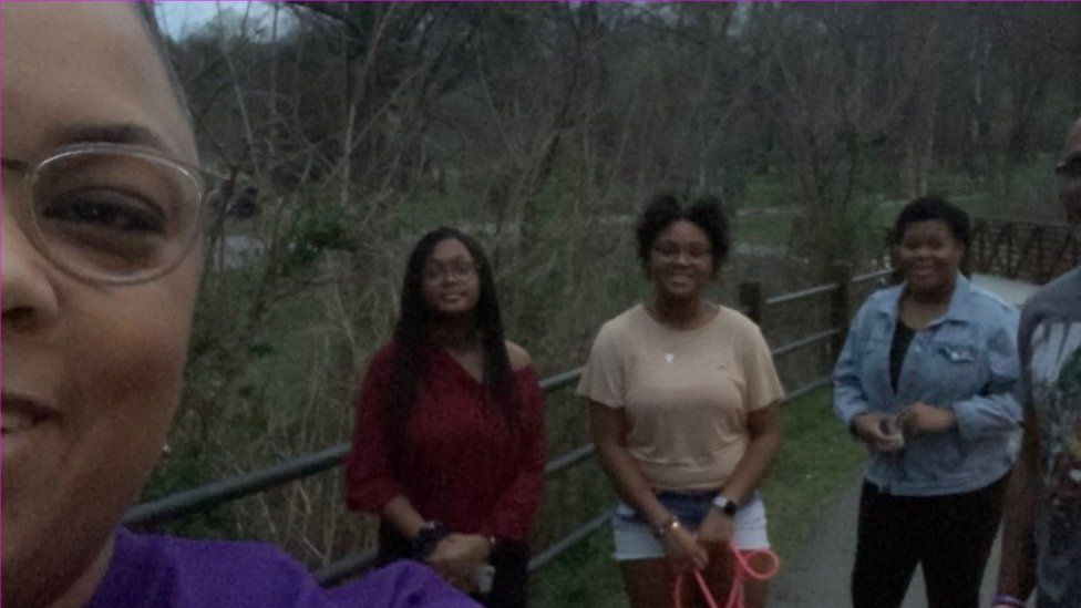 Vangie Williams and her daughters, LeAna, Leila and Lylia, and her husband, Glenn enjoy the Rappahannock River