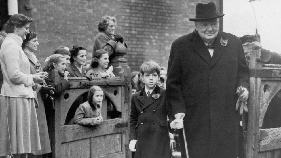 Sir Nicholas Soames with his grandfather Sir Winston Churchill