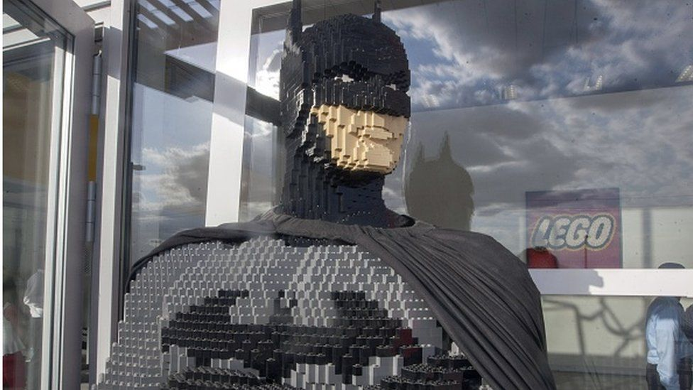 A figure made with bricks is seen outside the Lego company in Monterrey, Mexico on 21 October 2015