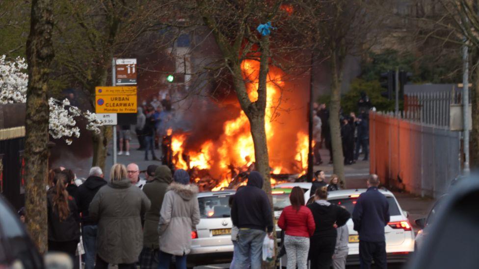 Bus burning in Belfast