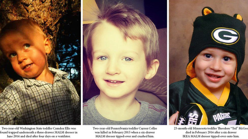Camden Ellis, Curren Collas and Ted McGee were killed by falling dressers