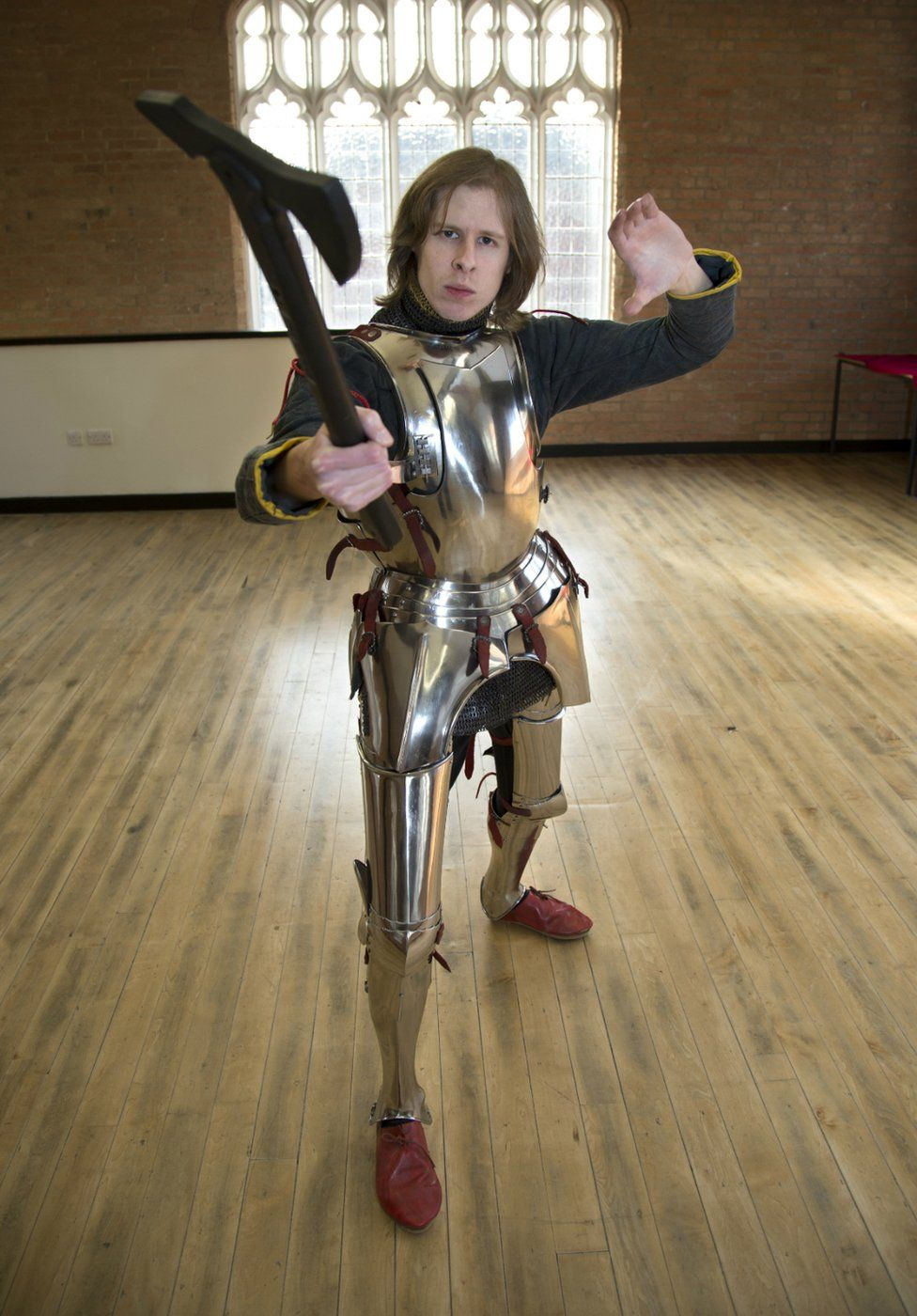 Dominic Smee in armour