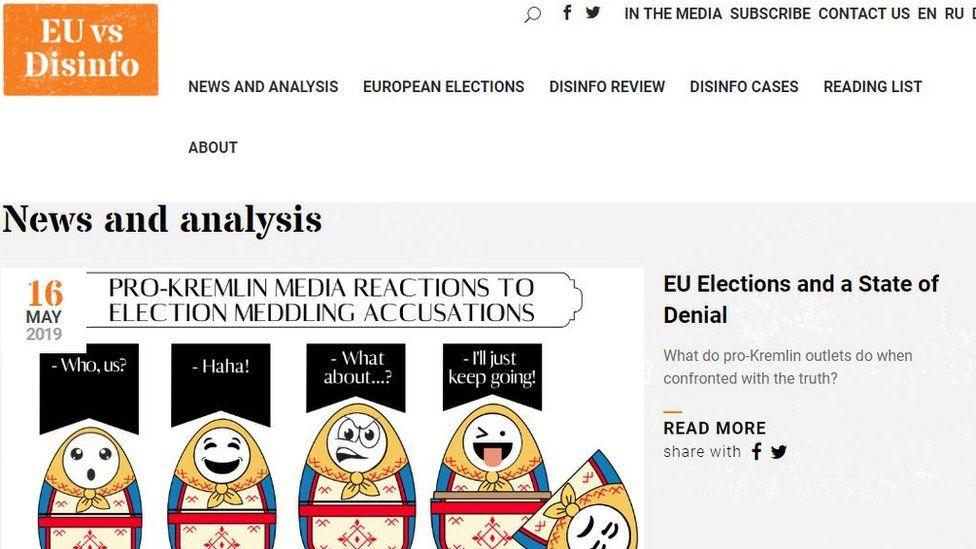 Screenshot of EU vs disinfo home page