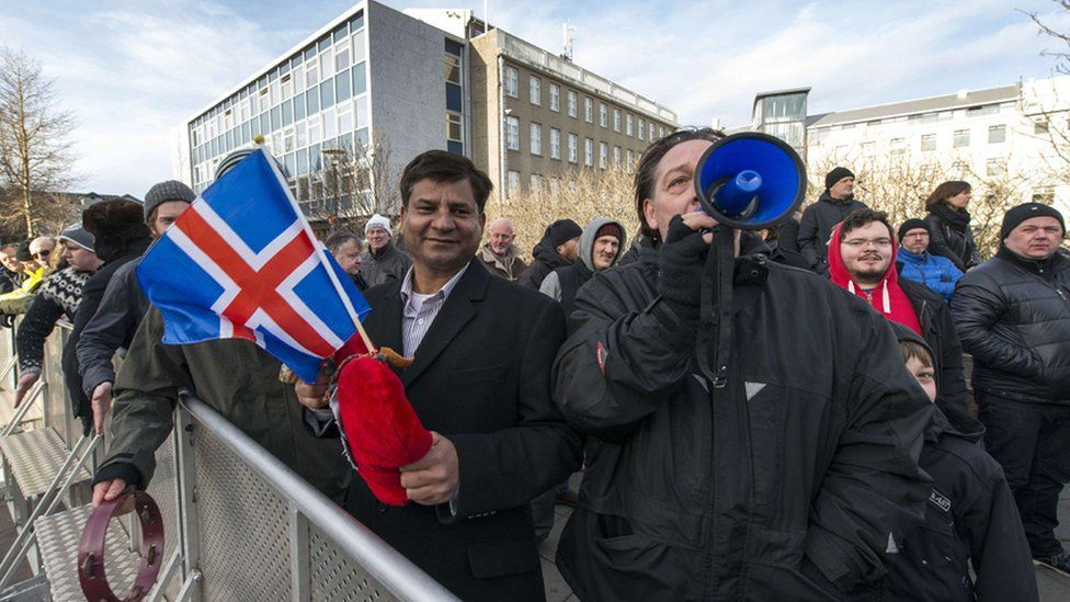 Icelandic rally urging EU referendum, 24 Feb 2014