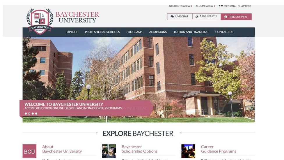 Many of Axact's online universities - like Baychester University - share the same format and use stock photographs