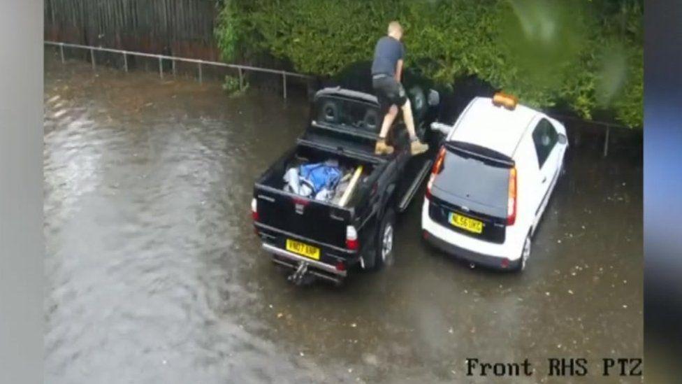 Blue Boar Inn car park flooding