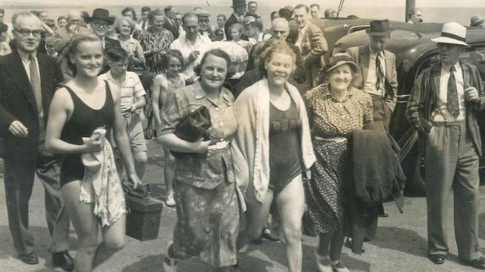 Photo of Jenny James after the channel swim