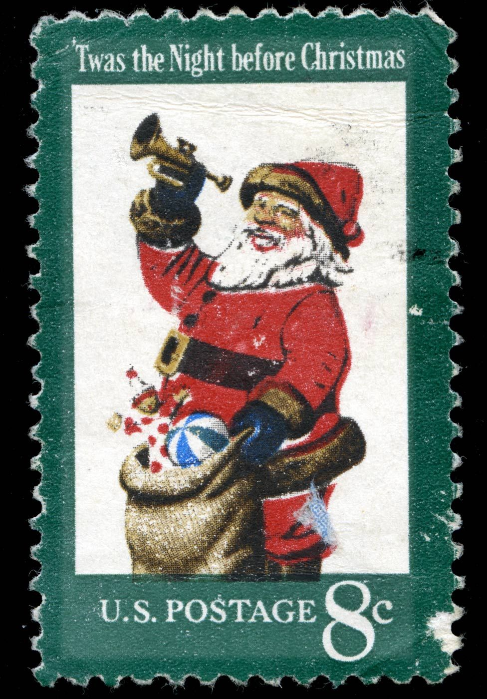 "A US stamp commemorating ""'Twas the Night Before Christmas"""