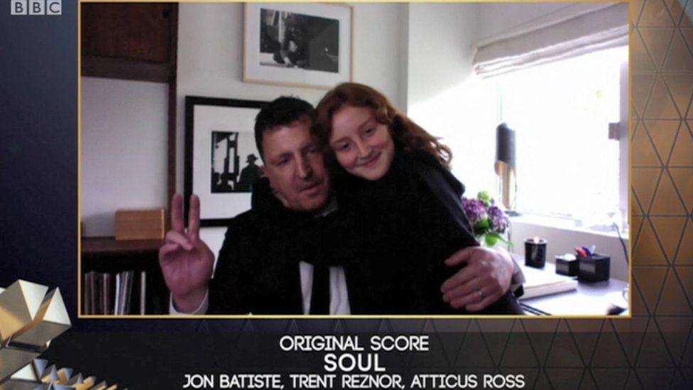 Atticus Ross with his daughter