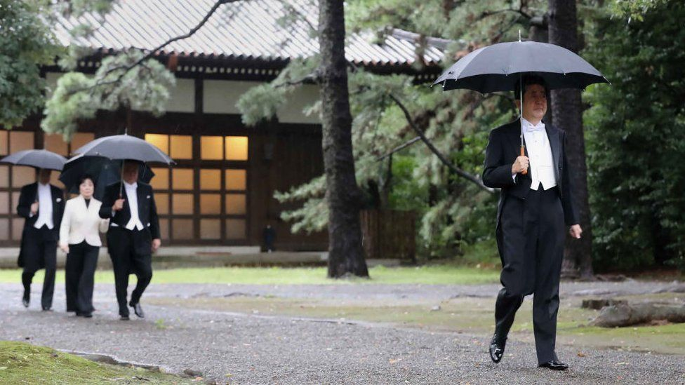 Shinzo Abe pictured at the Imperial Palace in Japan