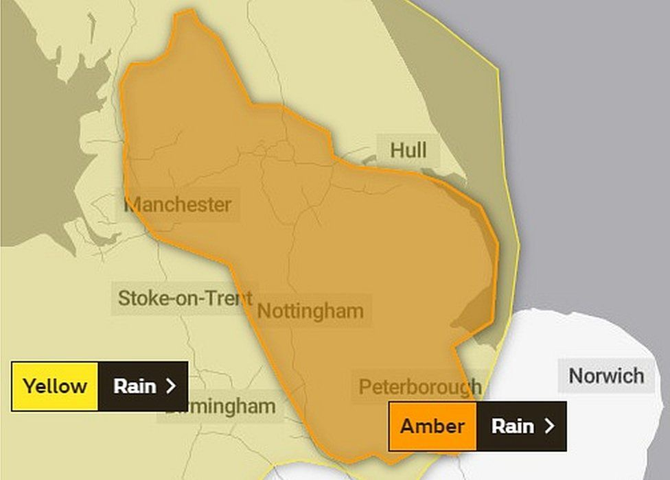 Met Office amber rain area