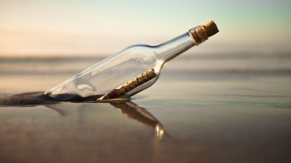 A stock image of a message in a bottle