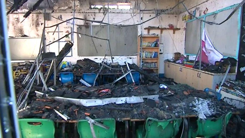 Fire damage at Woodborough Primary School