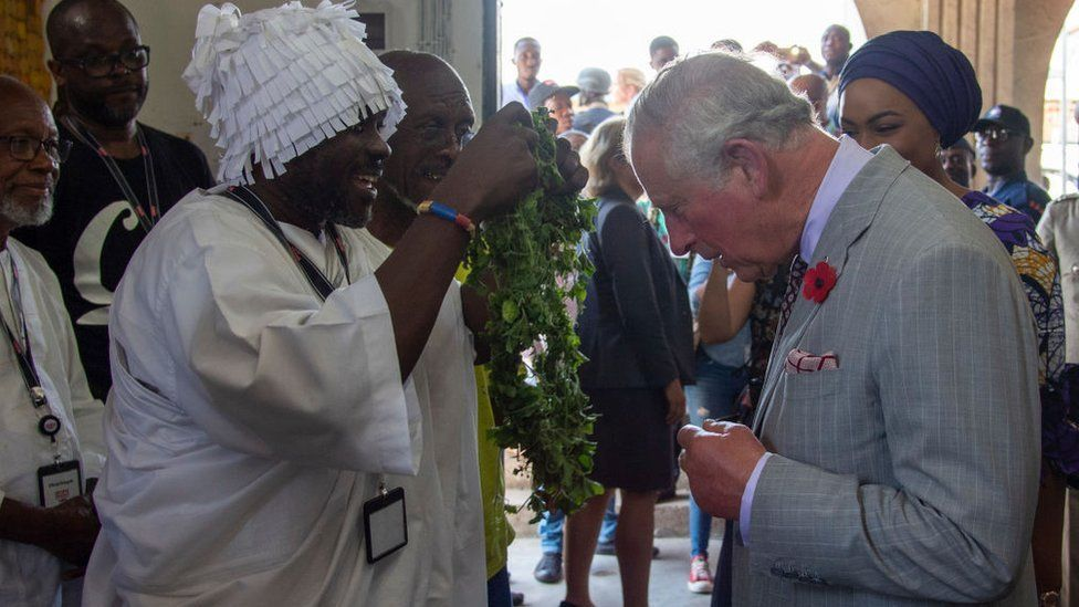 Prince Charles, Prince of Wales attends an Art, Music, Dance and Youth Exhibition in Jamestown on November 3, 2018 in Accra, Ghana