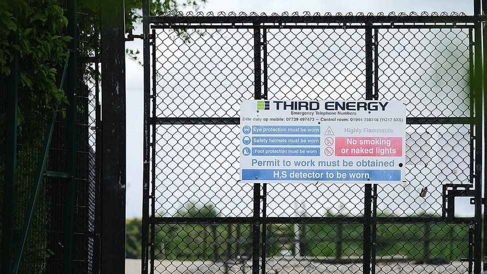 The entrance to the Third Energy KM8 site near the village of Kirby Misperton, North Yorkshire