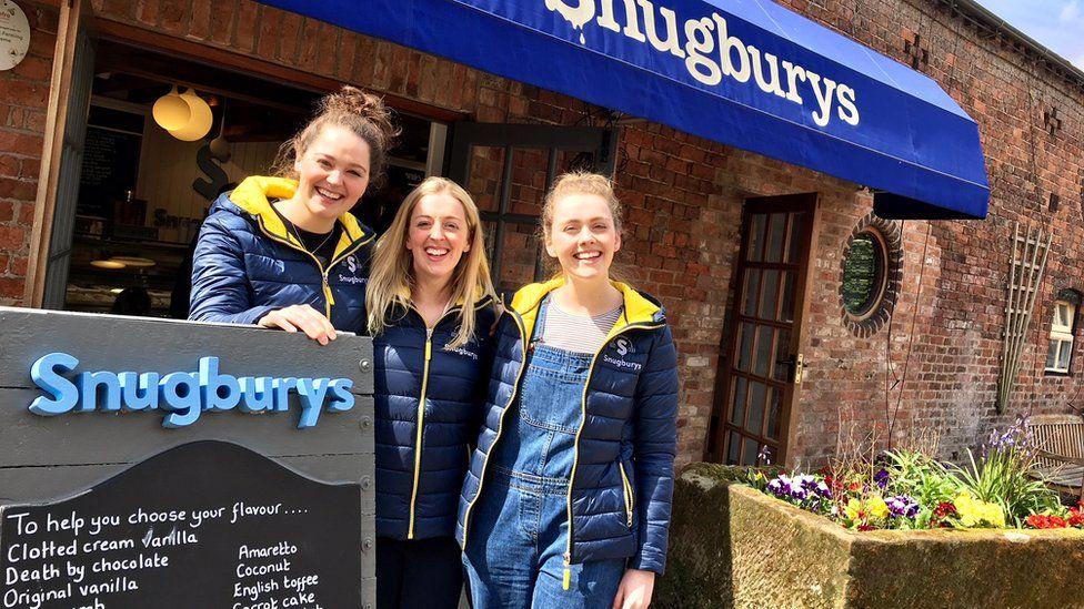 Ice cream shop and staff