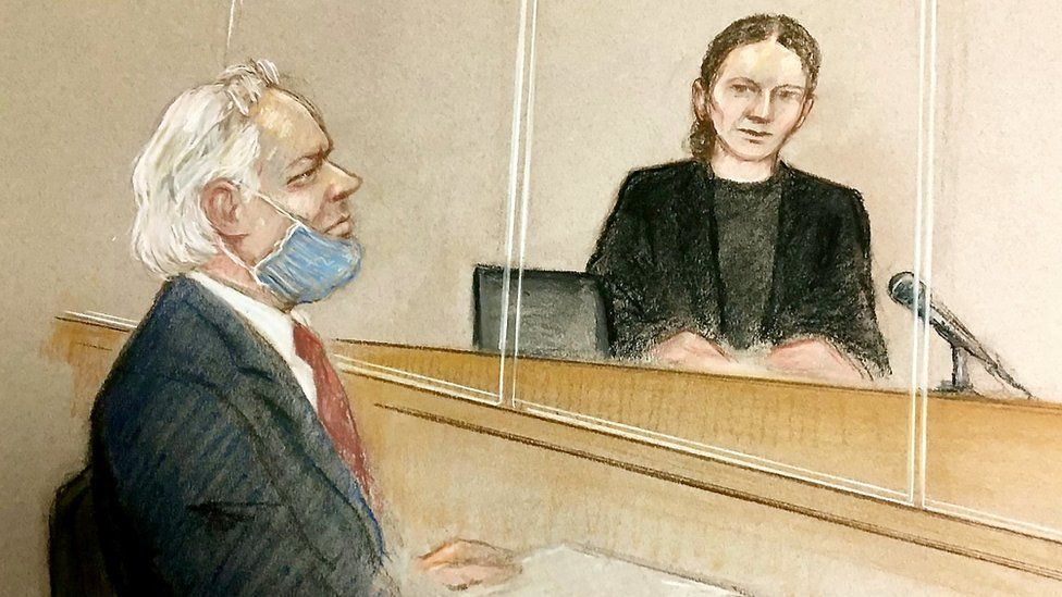 Drawing of Julian Assange in court