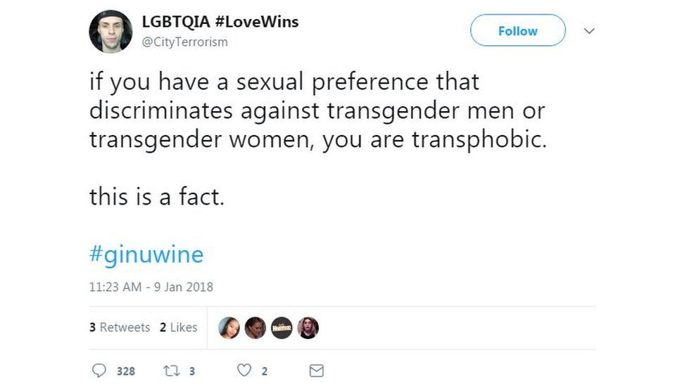 A tweet claiming that sexual preferences which discriminate against transgender men or women are transphobic