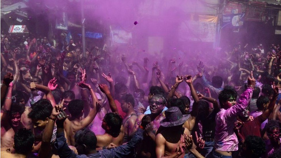Indian residents take part in Holi celebrations in Allahabad