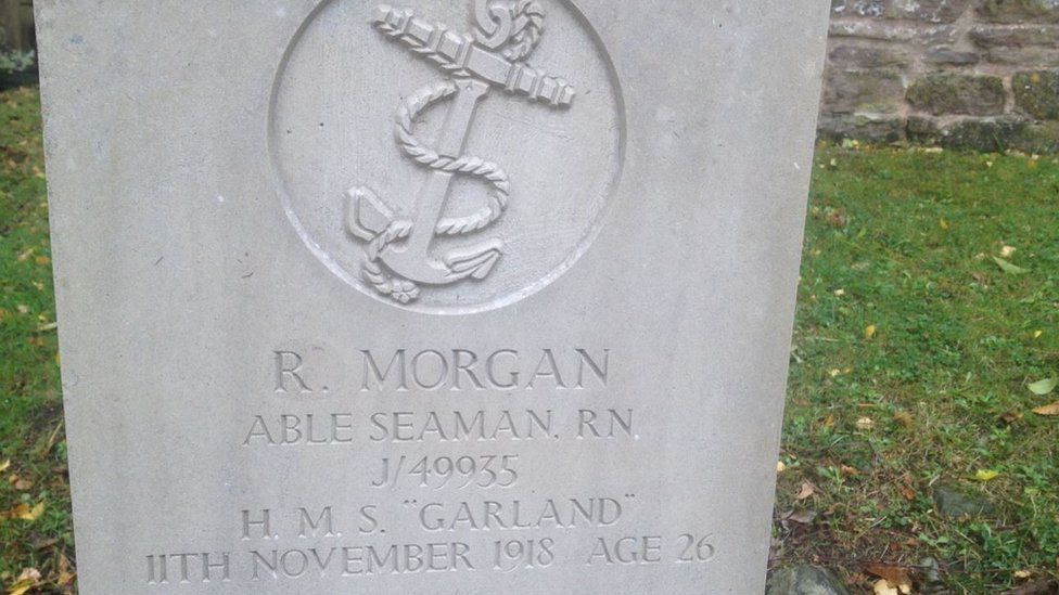 The war grave of Able Seaman Richard Morgan, who died age 26