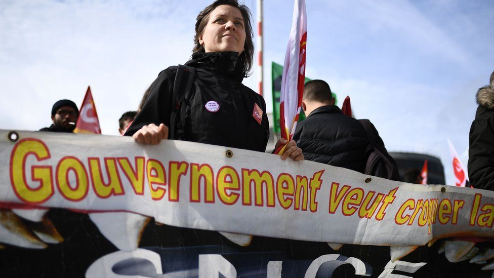 Rail worker demonstrating in Marseille on 18 April