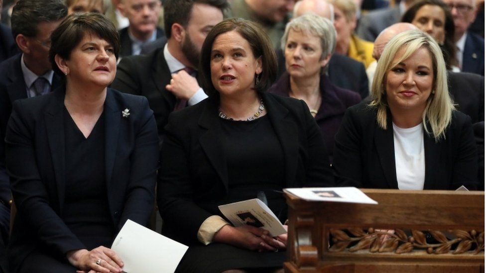 DUP leader Arlene Foster, Sinn Fein leader Mary Lou McDonald and Sinn Fein Vice President Michelle O'Neil