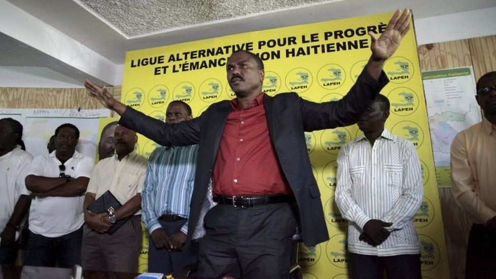 Presidential candidate Jude Celestin gestures during a news conference in Port-au-Prince on 6 November, 2015